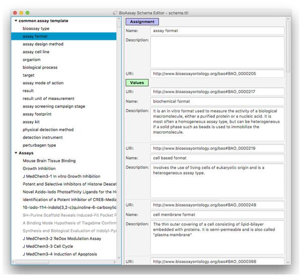 A snapshot of the BioAssay Schema Editor.