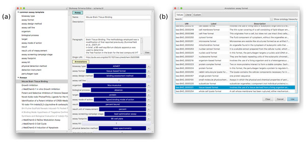 A snapshot of the annotation interface that is available within the template editor.
