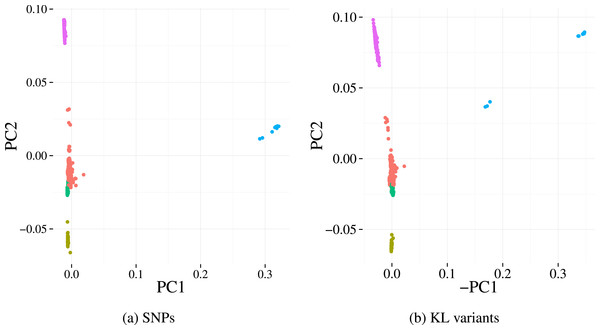 First two principal components derived from alignment-based SNP calls (A) and from variants detected by our method (B) applied to the Massachusetts S. pneumoniae dataset.