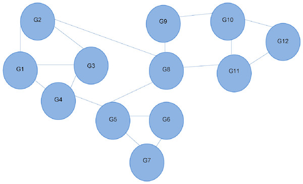 Interaction network of 12 different genes.