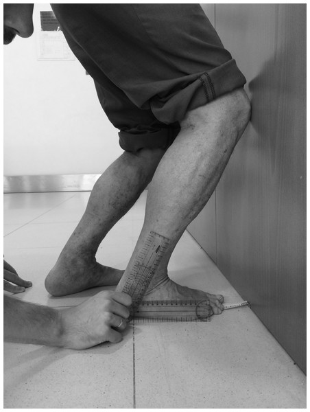 Goniometer measurement at the final lunge position in maximal dorsiflexion position.