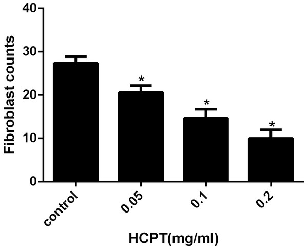 The effect of HCPT on fibroblast counting in epidural fibrosis tissue.