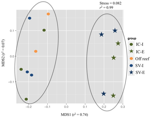 Non-metric multidimensional scaling (nMDS) plot of dissolved organic matter profiles from untargeted metabolomics analysis.
