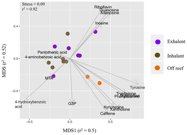Non-metric multidimensional scaling (nMDS) plot of metabolite concentrations based on targeted metabolomics analysis