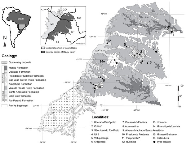 Fossil turtle localities in Bauru Basin.