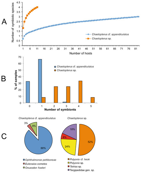 Characterization of the symbiotic communities associated with the two host species of Chaetopterus: (A) rarefaction curve; (B) distribution of symbionts per host; (C) relative abundance of the symbiotic species.