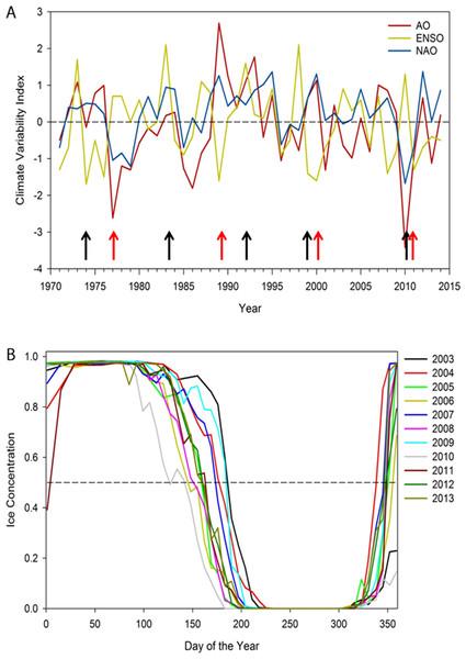 (A) Annual winter (December to February) North Atlantic Oscillation index (NAO), Arctic Oscillation (AO), and El Nino-Southern Oscillation (ENSO), 1971–2014.