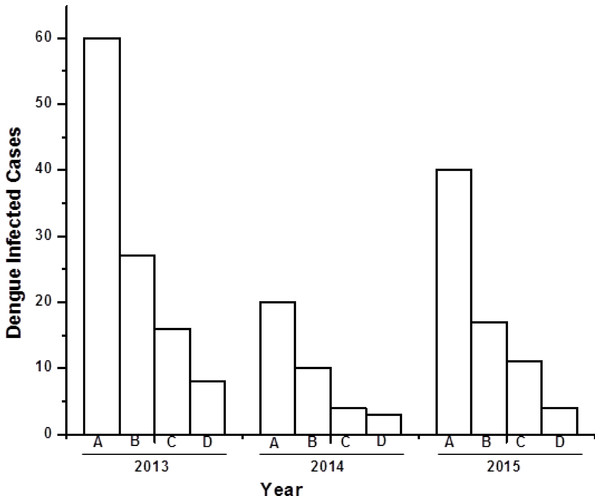 Bar diagram showing the number of dengue virus infected cases under different sex group in three consecutive years (2013–2015).