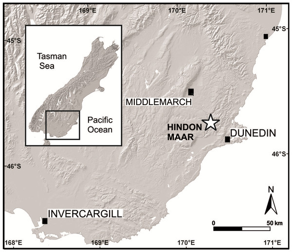 Geographical position of the Hindon Maar locality in southern New Zealand (modified after Kaulfuss & Moulds, 2015).