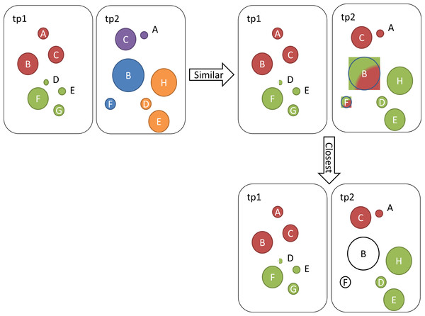 Illustration of identified communities at two different time points tp1 and tp2.