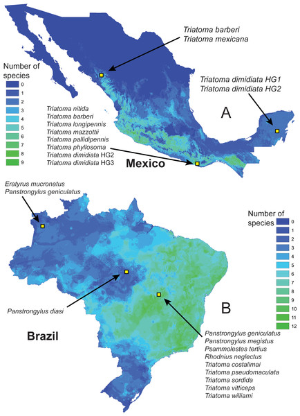 Map of species richness among the 39 triatomine species that are the focus of this analysis across Brazil, and 12 species across Mexico, each with three example sites and their corresponding triatomine faunas.