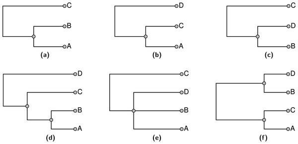 An example of three input trees shown in (A), (B), and (C) which do not conflict in a pairwise manner, but cannot be jointly displayed in one tree. The 3 solution trees are shown in (D–F).