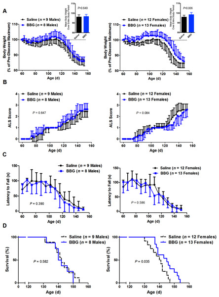 Brilliant Blue G (BBG) treatment reduces body weight loss and prolongs survival in female, but not male, SOD1G93A mice.