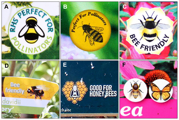 Examples of some pollinator-friendly logos found on plant labels in garden centres.