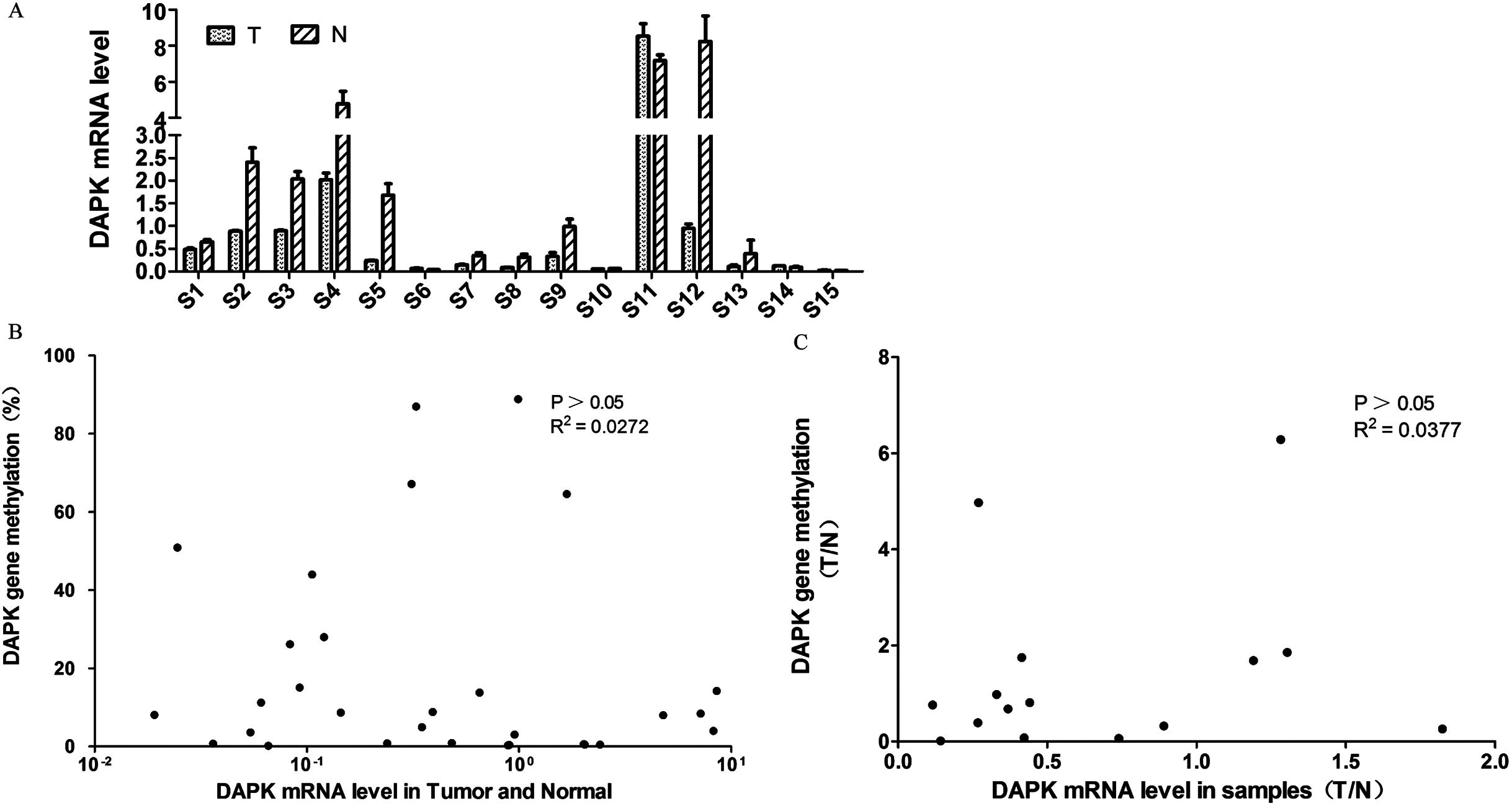 Quantitative and correlation analysis of the DNA methylation