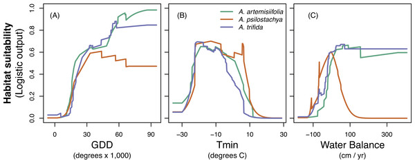 Response curves for common ragweed (A.artemisiifolia), perennial ragweed (A. psilostachya) and giant ragweed (A. trifida) to the three climatic variables; (A) growing degree days (GDD), (B) absolute minimum temperature (Tmin), and (C) water balance.