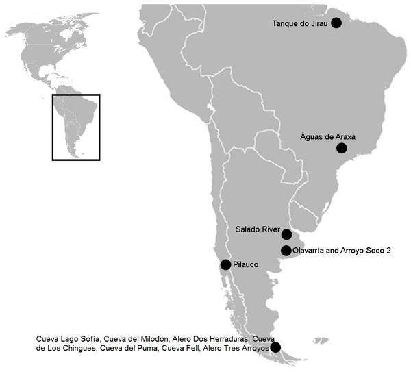 South American map showing the three sites mentioned in the text.