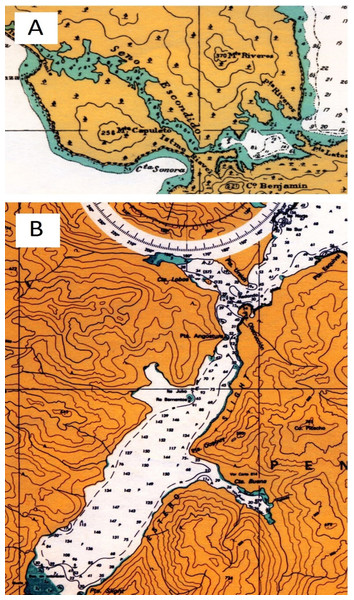 Nautical maps of Escondido and Slight Inlet.