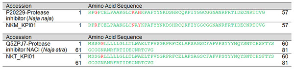 Pairwise sequence alignment of Kunitz-type serine protease inhibitor (KSPI) transcripts from the venom gland transcriptomes of NK-M and NK-T in comparison to the annotated KSPI sequences.