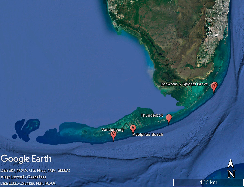 Nonnative Molluscan Colonizers On Deliberately Placed Shipwrecks - Florida keys map pdf