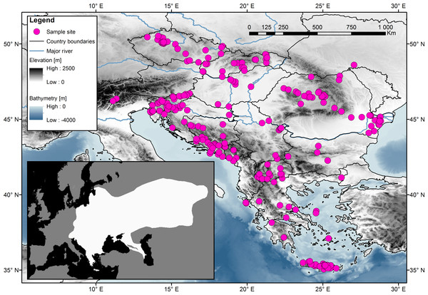 Sampling localities for the 314 samples of the Northern White-breasted Hedgehog (Erinaceus roumanicus) in central Europe and the Balkan region.