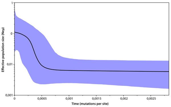 Bayesian skyline plot based on mtDNA of 296 Erinaceus roumanicus samples.
