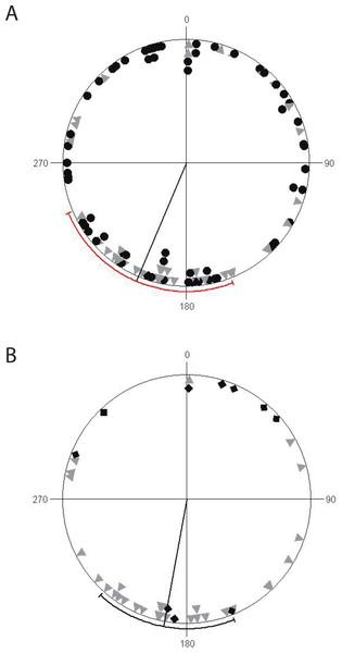 Circular diagrams of ravine orientation along coordinate axes.