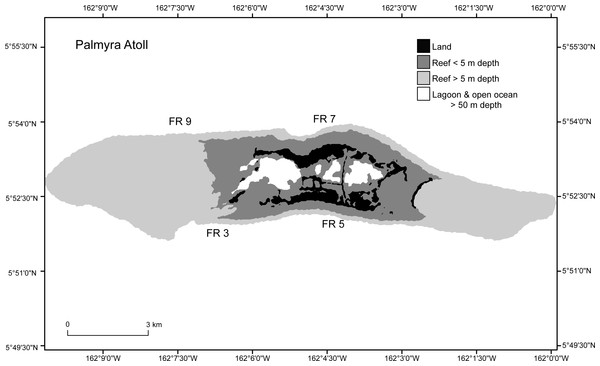 Study sites (FR3, FR5, FR7, FR9) around Palmyra Atoll.