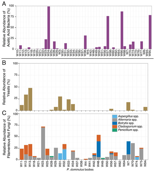 Relative abundance of sour rot associated microorganisms in P.dominulus.