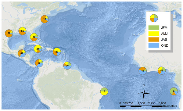 Map illustrating the location of sooty terns banded at the Dry Tortugas recovered in the Atlantic Ocean.