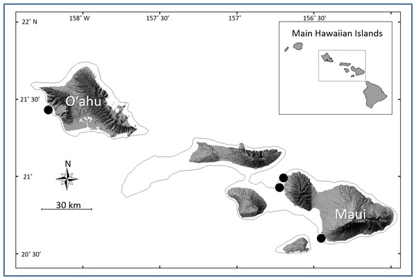 Map of the Main Hawaiian Islands showing the locations of the four survey sites.