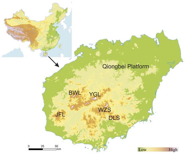 Location and topography of Hainan Island, China.