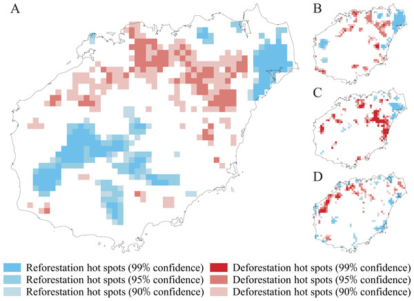 Hot spots of natural forest cover (NFC) decrease and increase in four assessed periods: 1950s–2010s (A), 1950s–1970s (B), 1970s–1990s (C), and 1990s–2010s (D) on Hainan Island.