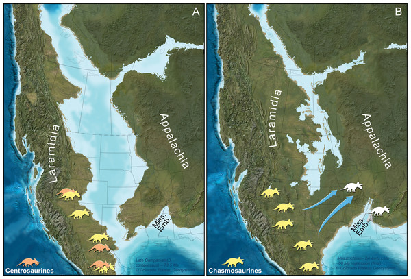 Paleogeographic maps of two key geochronologic intervals in the uppermost Cretaceous of North America.