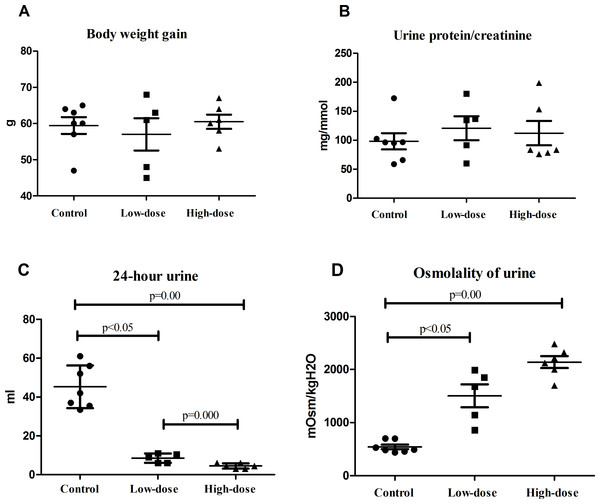 Physiological indicators of rats in control group (n=7), low dose AVP group (n=5) and high dose AVP group (n=6).