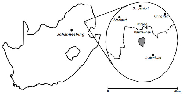 Location of area surveyed within 30 km of Thaba Tholo Wilderness Reserve (grey), South Africa.