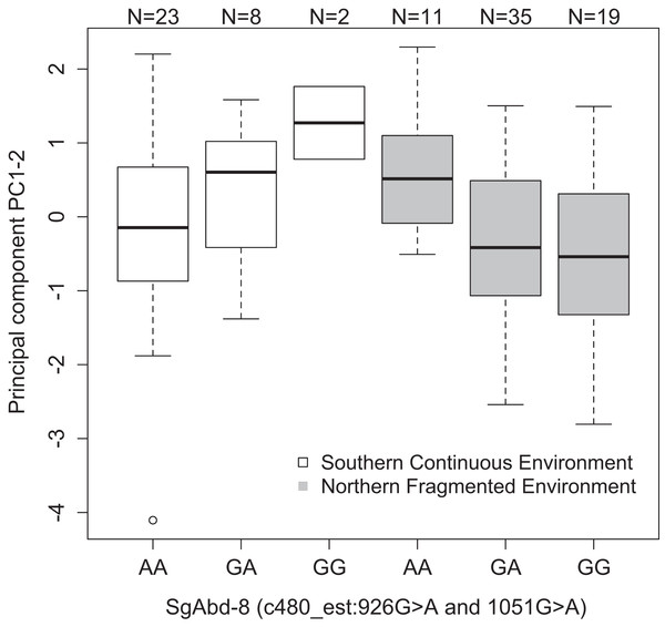 Differences in the development PC1–2 values for different butterfly genotypes in two SNPs in the SgAbd-8 gene, evolving in southern continuous (white bars) or northern fragmented environment (gray).