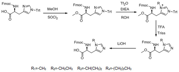 Synthesis route of L-histidine analogs.