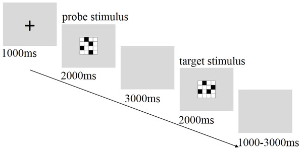 Sequence of events within a single trial of the visuospatial working memory task.