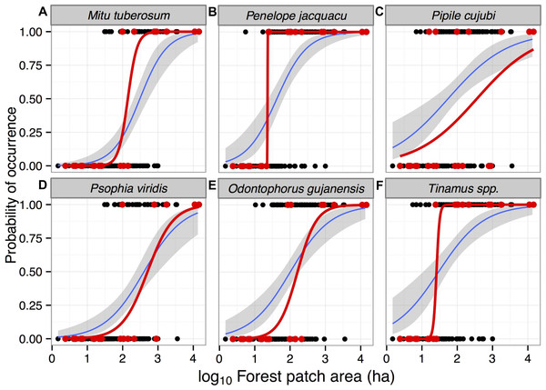 Probability of occurrence of six gamebird species in forest patches in the study region in Alta Floresta, northern Mato Grosso, Brazil.