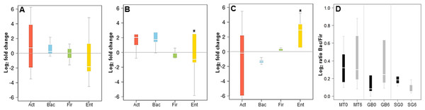 Changes in major phyla in the gut microbiota after each obesity treatment measured by qPCR.