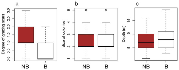 Box plots of each factor between non-bleached and bleached colonies of massive Porites.