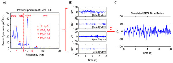 Procedures of the spontaneous EEG simulation based on the MPA EEG model.