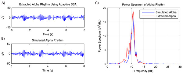 Results of the alpha rhythm extraction from simulated EEG data using the adaptive SSA.