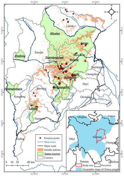 Predicted suitable habitat for the Chinese monal and existing nature reserves in the Qionglai Mountains.