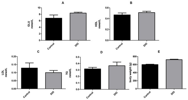 Effect of high fat diet induced obesity (DIO) on GLU, HDL, LDL and TG. Data are expressed as mean ± SEM.