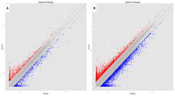 Scatter plots assessing the variation in expression of lncRNAs (A) and mRNAs (B) in the two compared groups.
