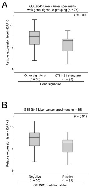 The association between beta-catenin and DAPK1 expression.