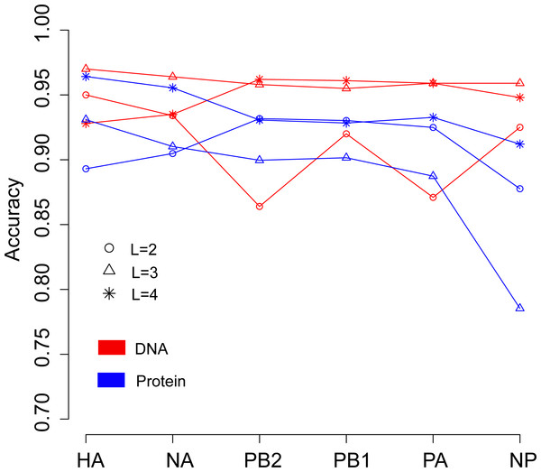 Comparison of overall accuracies for the models based on word vectors with words of two to four letters long (shown in circle, triangle and star, respectively) derived from the influenza DNA dataset (red line) and influenza protein dataset (blue line).