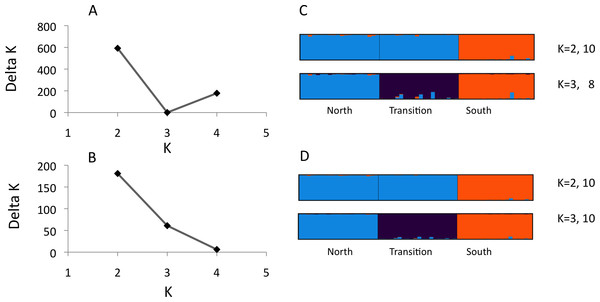 Structure analysis of microsatellite data for three parapatric populations (North N = 20, Transition N = 20, South N = 19)